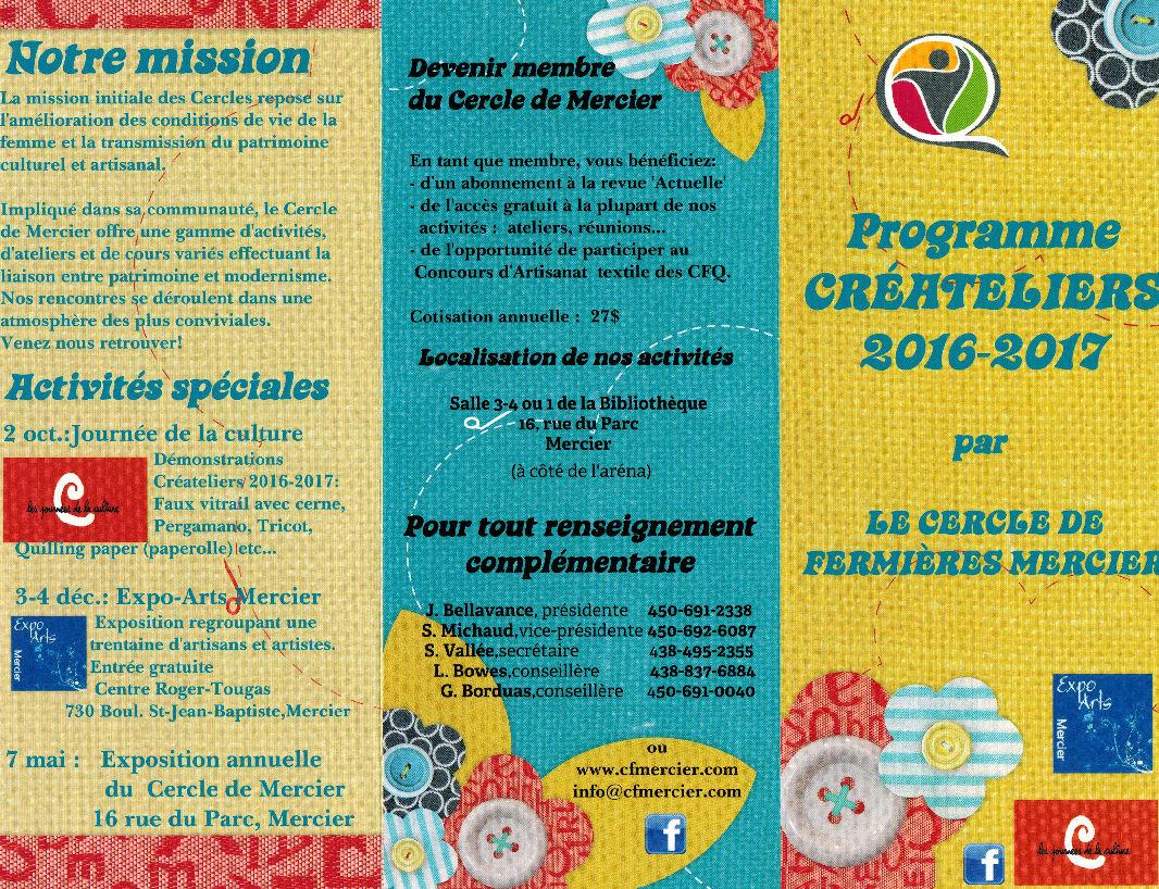 Programme Créateliers 2016-2017